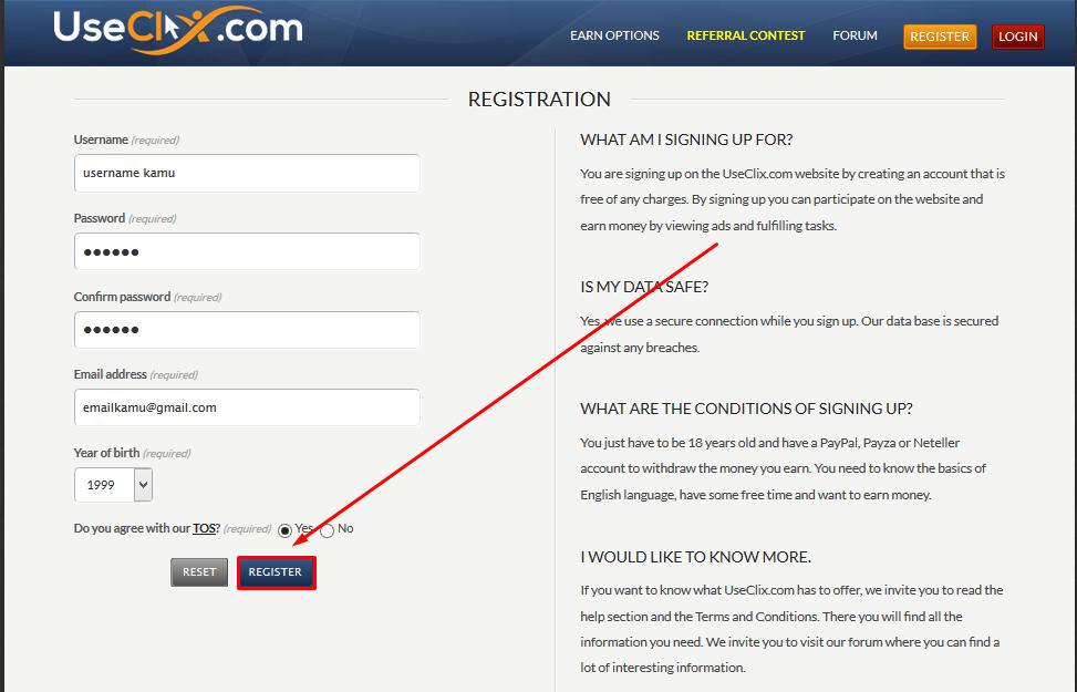 Cara Mendaftar Bisnis Online Tanpa Modal PTC Useclix